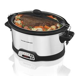 Hamilton Beach 33661 Stay Or Go Slow Cooker, 6-Quart, Silver