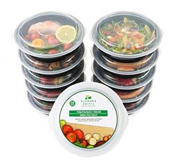 Round BPA Free Meal Prep Containers. Reusable Plastic Food