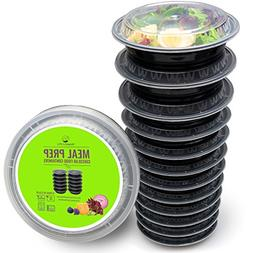 Round Meal Prep Containers Set - Portion Control Bento Box-