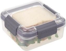 SANDWICH LUNCH BOX TO GO CONTAINER GRAY, LEAK PROOF PLASTIC