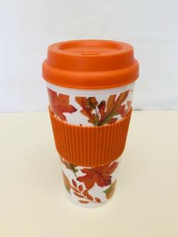 "TRAVEL TO GO COFFEE MUG REUSABLE ""FALL LEAVES"" NEW"