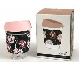 XO SIENNA GLASS & SILICONE PINK FLORAL TO GO TRAVEL MUG TUMB
